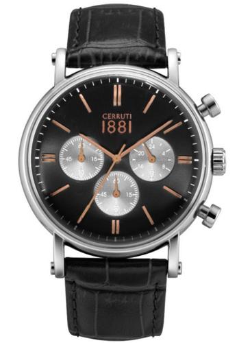 CERRUTI 1881 black Tremezzo Chronograph Black Leather Strap Men Watch CE514AC35QOQMY_1