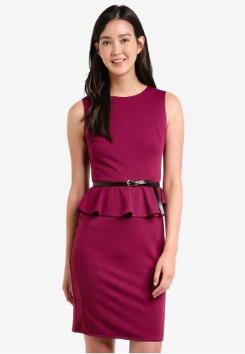 ZALORA red Peplem Fitted Dress F0442AAC5EC807GS_1
