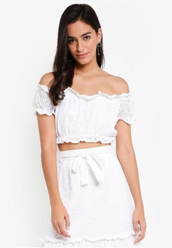 Vero Moda white Anna Off Shoulder Crop Top B1621AAC33D22EGS_1