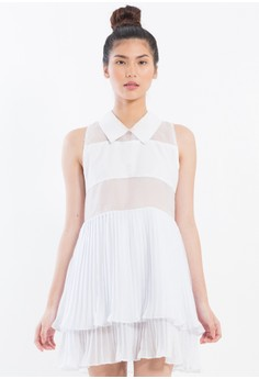 [PRE-ORDER] Pleated babydoll dress with sheer panels