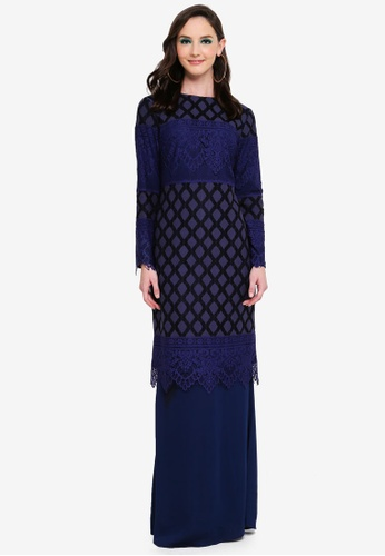 Belle Lace Kurung from Syaiful Baharim in Blue