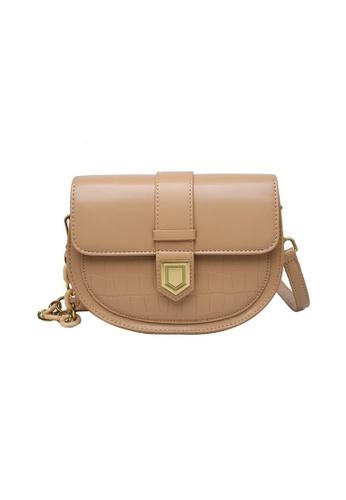 Lara beige Women's Elegant Leather Flap Zipper Shoulder Bag - Khaki 59F9DAC80A93A0GS_1