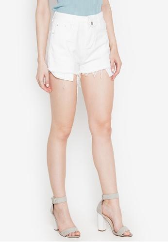 Spring Fling white Frayed Hem Shorts CC292AA7C53C8CGS_1