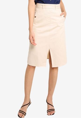 ZALORA BASICS beige Front Slit A Line Skirt F98AFAA5C4D578GS_1