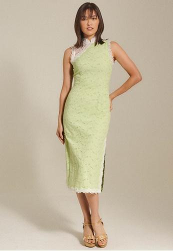 Dressing Paula green Broderie Anglaise QiPao 7BCE7AADE9733BGS_1