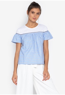 b127e4287dabb Azria Short Sleeves Round Neck Blouse With Cotton 86815AAC3DC5D5GS 1