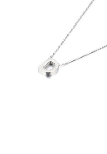 Glamorousky silver Simple Temperament English Alphabet D 316L Stainless Steel Pendant with Necklace 86D77AC94FBE9DGS_1