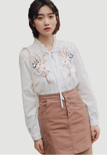 Shopsfashion white Embroidery Blouse in White SH656AA0FT5ASG_1