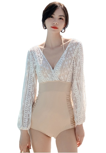 A-IN GIRLS beige Elegant Lace One Piece Bikini Swimsuit 9E2A8US7439F38GS_1