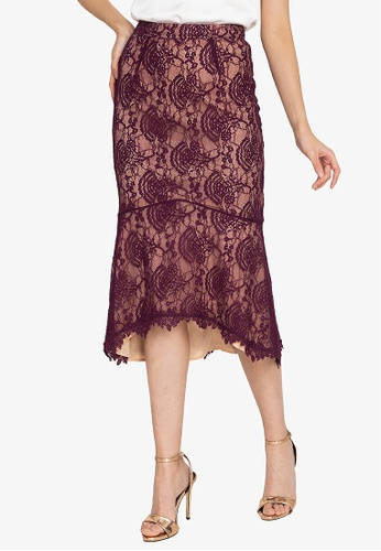 ZALORA OCCASION red Corded Lace Skirt B5B80AA268ED6BGS_1
