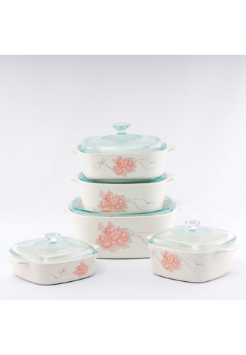 Corningware white Corningware 10 Pcs Market Street New York Casserole Set with Glass Cover - Peony Bouquet E2564HL7A05DD3GS_1