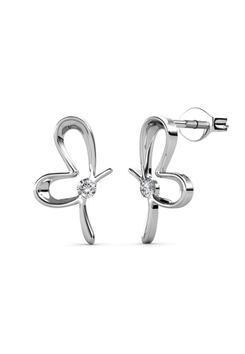 Her Jewellery silver Posie Butterfly Earrings (White Gold) - Made with premium grade crystals from Austria DBBD8ACAE64834GS_1
