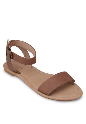 仿皮繞踝帶平底涼鞋, zalora鞋女鞋, 涼鞋