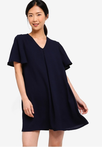 ZALORA BASICS navy Basic A-Line Mini Dress 698E8AA525CA62GS_1