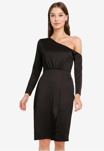 ZALORA OCCASION black Asymmetric Bodycon Dress 3DB92AA9539211GS_1