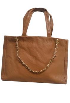 Shiny Synthetic Crocodile Pattern Handbag -Brown