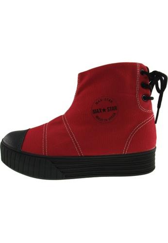 Maxstar 紅色 新款韩国鞋C30-BackLace時尚帆布布混合女紅色 US Women Size MA345SH62HCJTW_1