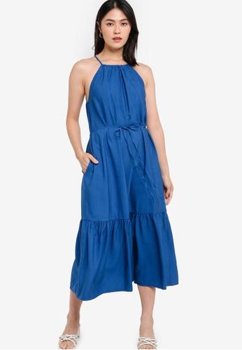Banana Republic blue Sleeveless Halter Midi Tiered Dress F8F7AAA687F099GS_1