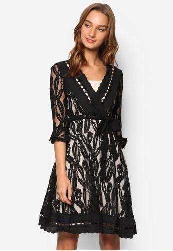 Layla 兩件式蕾絲七分袖連身裙, zalora 包包評價服飾, 洋裝