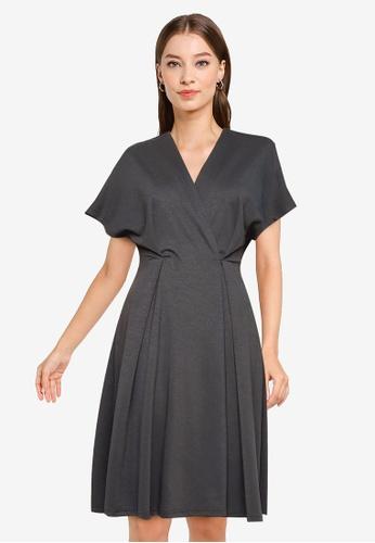 ZALORA WORK grey Oversized Wrap Dress 5FD1AAA4F9A3A8GS_1