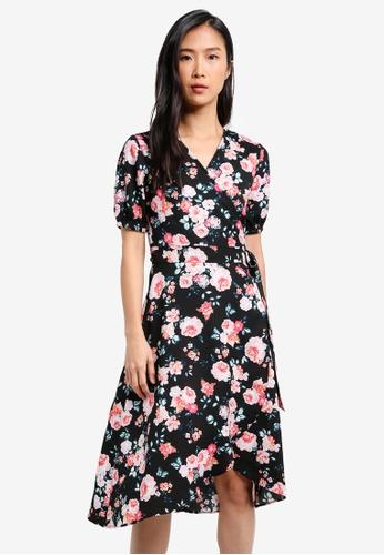ZALORA black Printed Wrap Dress FE0CDAAE700FCCGS_1
