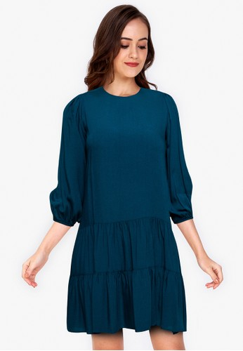 ZALORA WORK blue Puff Sleeve Drop Waist Dress E6E4DAAA7CC328GS_1