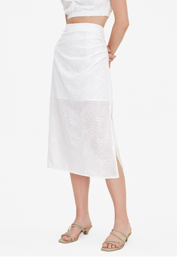 Pomelo white Embroidered Floral Side Slit Skirt - White 2205EAA639B999GS_1
