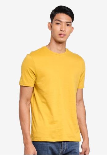 Topman 黃色 短袖修身T恤 4FB28AA37DF1EFGS_1