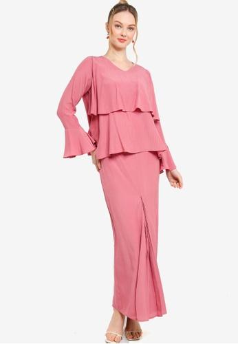 Lubna pink Nursing Tiered Flare Kurung 46252AA0249D15GS_1