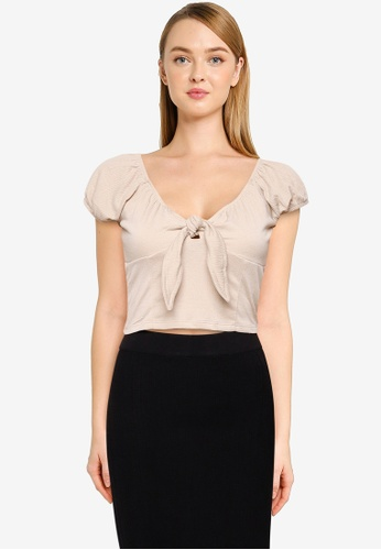 Cotton On brown Sally Sweetheart Short Sleeve Top D03CAAA59B38E2GS_1