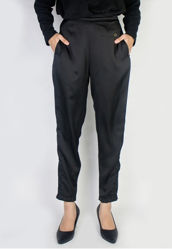 Zaryluq black Slim Button-Down Pants in Sable 502BEAA3D608D5GS_1