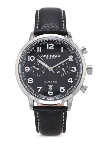 Akribos XXIV black Chronograph Leather Watch 41E11AC0A7466EGS_1