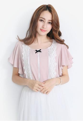 YOCO pink Lace Waterfall Top YO696AA0S1DEMY_1