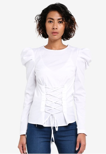 Miss Selfridge white Ivory Corset Poplin Blouse MI665AA0RV1XMY_1