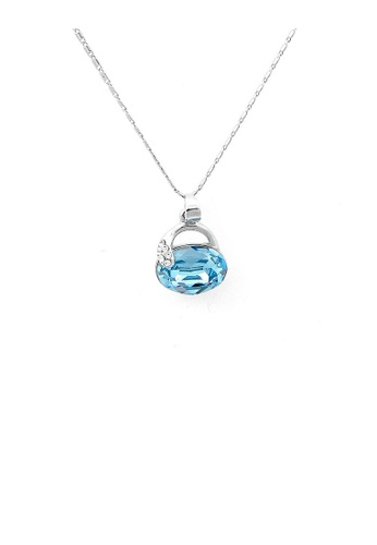 Glamorousky blue Cutie Handbag Pendant with Silver and Blue Austrian Element Crystals and Necklace 5797BACCA0DFA2GS_1