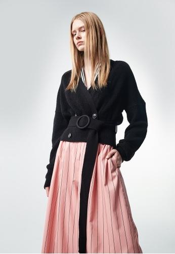 iROO black Knitted Cardigan BA74BAACB38C4BGS_1