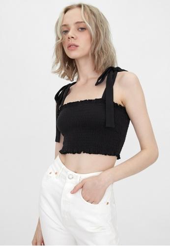 Pomelo black Sustainable Tie Shoulder Cami - Black 3C88BAA160E766GS_1