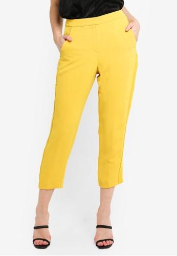 TOPSHOP 黃色 Satin Stipe Trousers 31C75AAC11DF2DGS_1