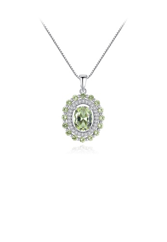 Glamorousky green 925 Sterling Silver Fashion and Elegant Geometric Oval Pendant with Green Cubic Zirconia and Necklace 663F6ACAD38A76GS_1