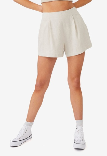 Cotton On white and beige Paradise Shorts 8D418AA299E231GS_1