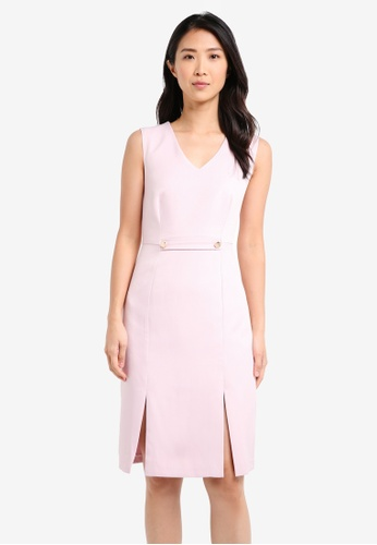 ZALORA pink Bodycon Dress with Slits 42881AA111EF27GS_1