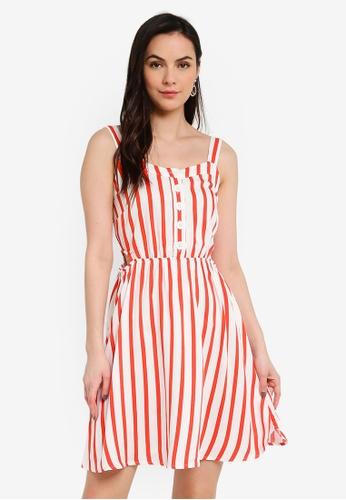 LC Waikiki orange Striped and Strappy Viscose Dress 5A1AAAA090F43EGS_1