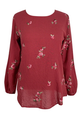 Eastern Classic red Eastern Classis Women Miss Red Gingham Embroidered Puffed Long Sleeve Blouse 2F0DDAA6894969GS_1