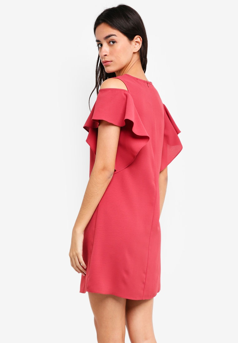 ZALORA Rose Dress Red Ruffles Cold Shoulder qwT4F0