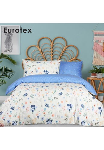 Eurotex Eurotex Junior, 900 Thread Count 100% Cotton, Kids / Children / Boys / Girls Bedsheet, Fitted Bedsheet Set (without Quilt Cover) - Rabbit Floral 9AE55HL1F4E691GS_1