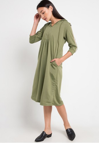 GRAPHIS green and multi Hooded Dress 8A985AA20CEE1EGS_1