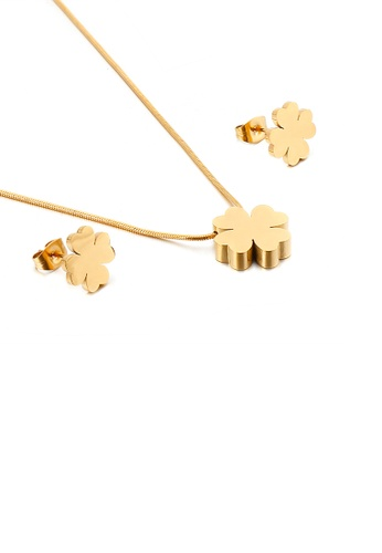 Glamorousky silver Fashion and Simple Plated Gold Four-leafed Clover 316L Stainless Steel Necklace and Stud Earring Set 233A8ACE442432GS_1