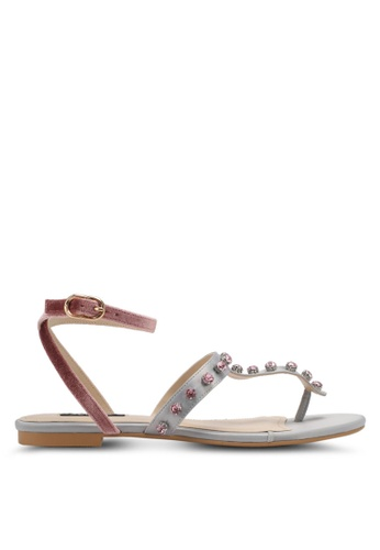 ZALORA grey Pearl Sandals F3E3BSH62B0CD8GS_1