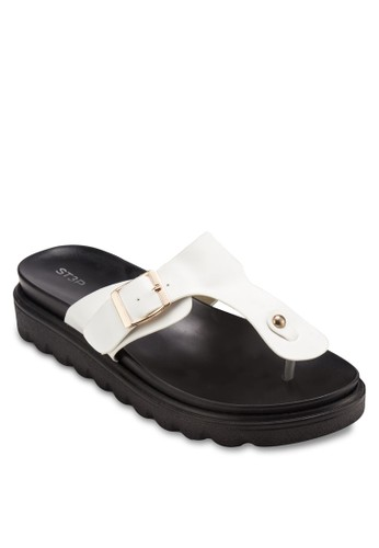 esprit香港分店地址扣環夾腳厚底涼鞋, 女鞋, 鞋