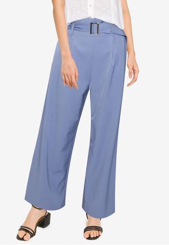 ZALORA BASICS blue Self Fabric Long Pants 5021FAA4C7E7B7GS_1